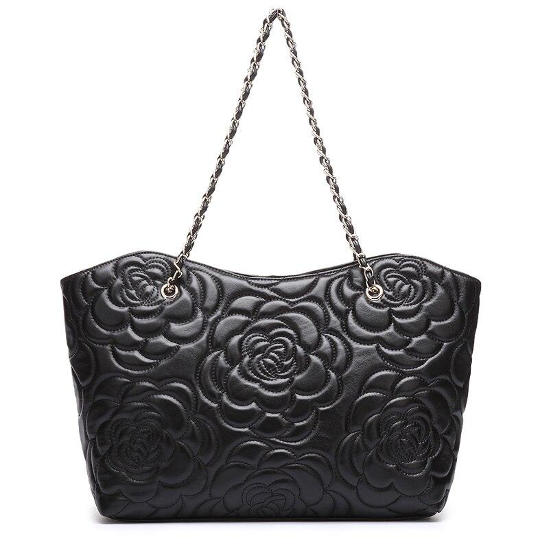 NOUVEAU 2016 femmes de luxe sac célèbre marque designer Big sacs à main en peau de mouton véritable cuir Chaîne épaule sacs de Haute Qualité 6048