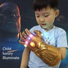 Child Illuminate Infinity Gauntlet Avengers: Endgame Cosplay Prop Thanos PVC Emulsion Adult Gloves Mask