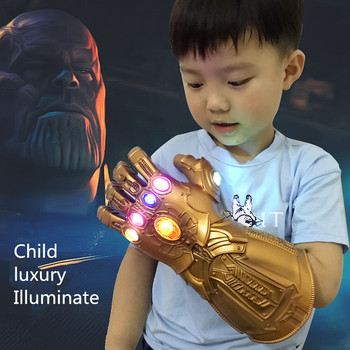 Child Illuminate Infinity Gauntlet Avengers: Endgame Cosplay Prop Thanos PVC Emulsion Adult Gloves Mask