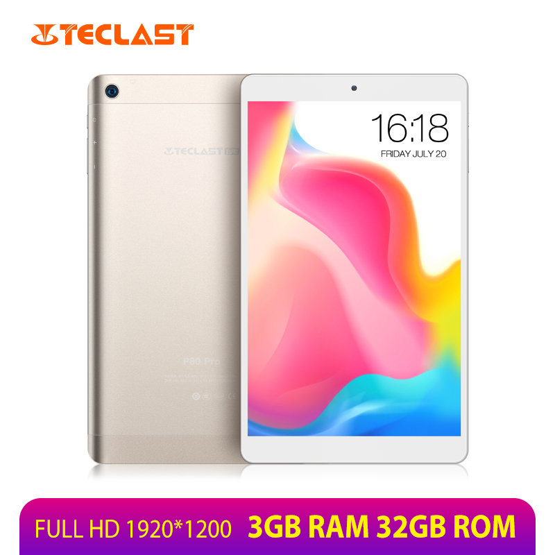 Teclast P80 Pro 8 pouces tablette 1920*1200 3GB RAM 32GB ROM MTK8163 Quad Core Andriod 7.0 tablettes PC GPS double WiFi double caméras