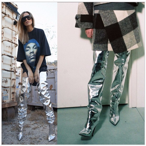 Exquisite Women Winter Knee-high Boots Silver Color Pointed Toe beautiful Boots Sexy High Heels Hot Selling Over the knee boots hot selling 2015 women denim boots pointed toe tassel patchwork knee high boots crystal thin high heels winter motorcycle boots