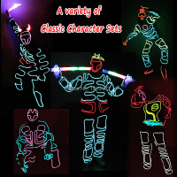 11 Style NEW Arrive DIY LED Suits Light up Hoodie EL wire clothes glowing holiday costume Diy Party holiday lighting