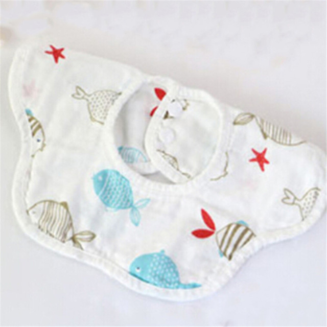 16f65aded0 4 Layers Muslinlife High Quality Cotton Baby Bibs Burp Cloth 360 Cute Animal  Print Baby Bandana
