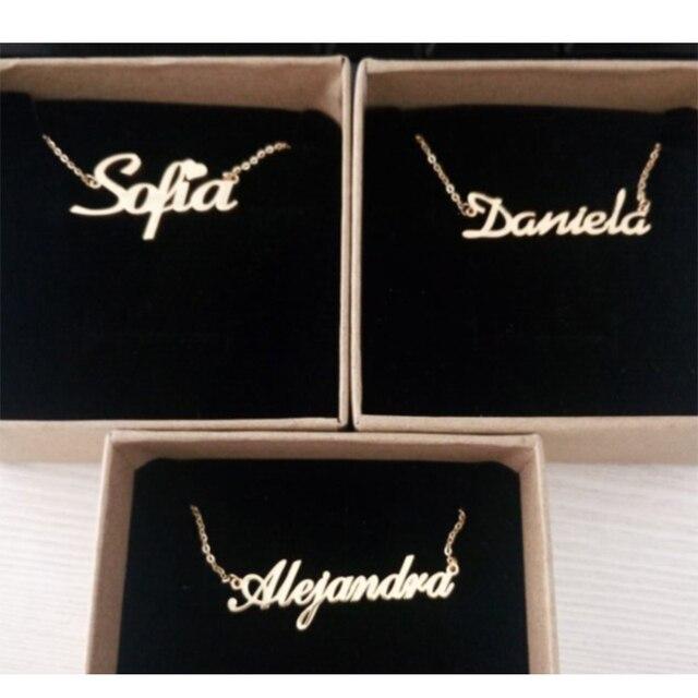 Handmade Personalizzato Nome Dello Script Collana Donna Ragazze Migliore Regalo di Personalizzazione Targhetta Lettera Iniziali Collane Gioielli