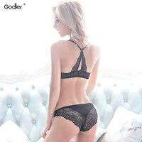 Godier Voorsluiting Bh Korte Set open cup beha Sexy Kant Lingerie Vrouwen Push Up Ondergoed Mode Bralette Set beha panty set