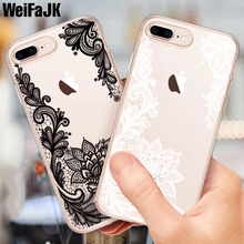 цена на WeiFaJK Cute Lace Flower Silicone Case For iPhone 8 7 7 Plus 6 6s Soft TPU Transparent Back Case For iPhone 6 6s 7 8 Plus X Case