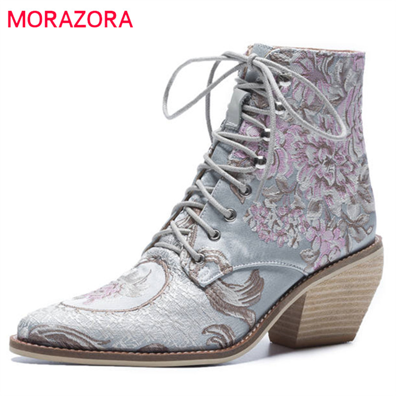 MORAZORA 2020 newest ankle boots women Chinese style embroider fashion boots lace up autumn winter ladies