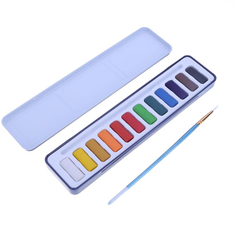 12Color/Box Solid Watercolor Paint Pigment Set with Paint Brush Metal Box Painting Drawing Tool School Stationgery Art Supplies van gogh 24 colors solid watercolor pigment with nature sponge and paintbrush plastic case water color paint art supplies