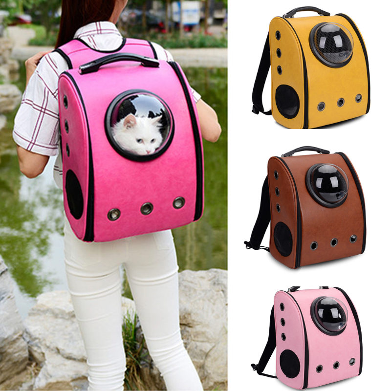 The Capsule Bag Carrying Pet Cat Leather Breathable Outdoor Portable Packaging Bag Pets Puppy Travel Backpack for Dogs Carrier in Dog Carriers from Home Garden