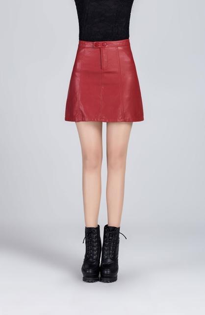 S-xxxl mulheres sólidos faux pu de couro saias desgaste do escritório de moda a linha mini saias retro roupa vintage feminino