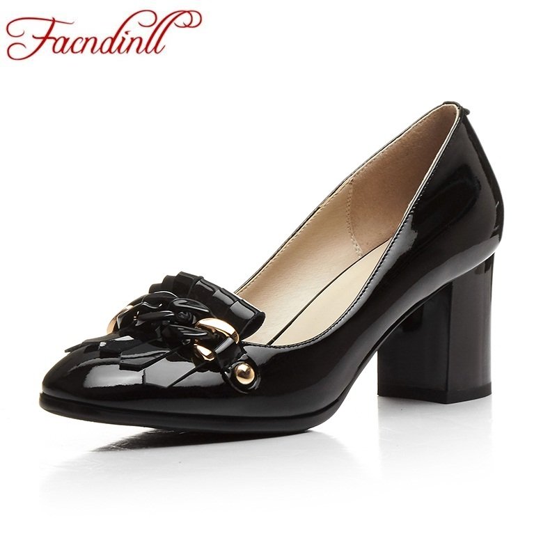 FACNDINLL spring autumn women pumps patent leather high heel square toe shoes woman black ladies dress party wedding shoes pumps 2017 women pointed toe patent leather office high heel shoes ladies pumps wedding party dress shoes 8 cm appliques