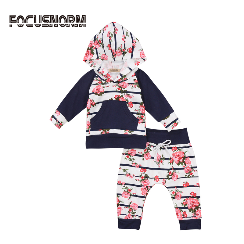 2017 New Casual Newborn Kid Baby Girl Clothes Cotton Warm Suit Long Sleeve Floral T-shirt Pant Clothes C
