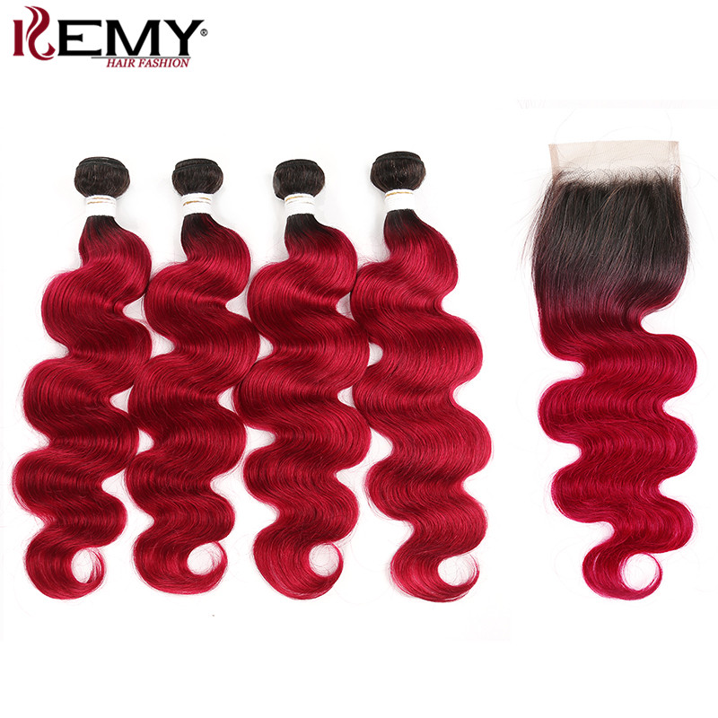 Ombre Red Body Wave 4 Bundles With Closure 4*4 KEMY HAIR Brazilian 100% Human Hair Extension Non Remy Hair Weave Bundles