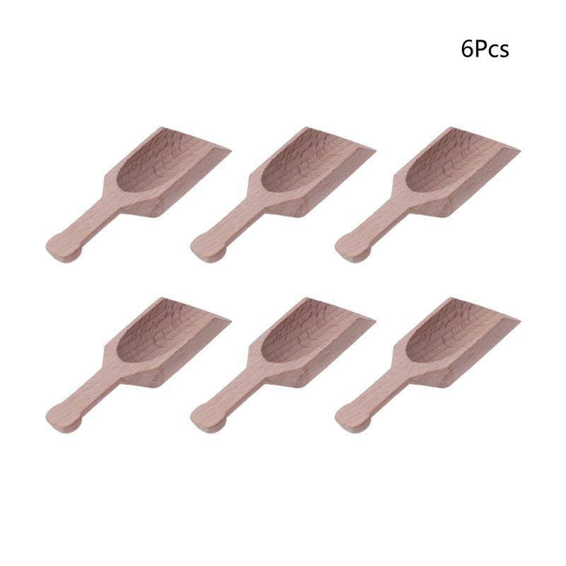 4pcs Wooden Coffee Tea Scoops Mini Candy Bath Salt Spices Flavors Spoons