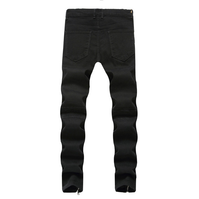 2018 New Skinny Biker Jeans Men Motorcycle Stretch Cargo Denim Jeans with Zippers Pleated Slim Jean Men's Plus Size 40 42 Pants