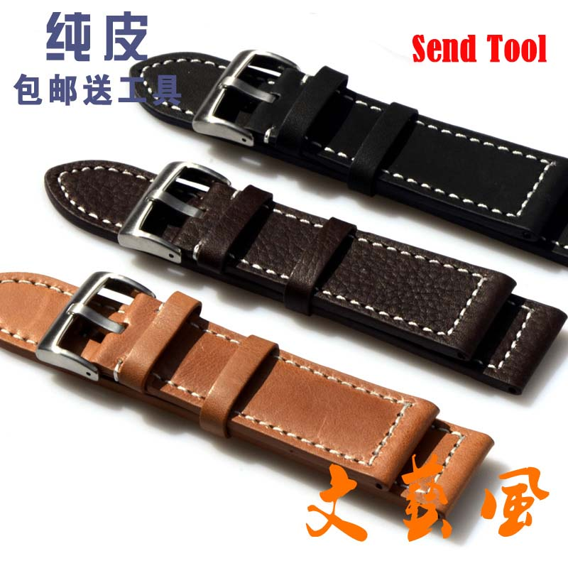 23mm 24mm NEW Mens High quality Genuine Leather Black Croco Grain Red Stitch Watch Band Strap