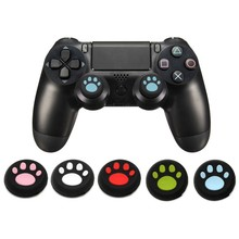 2Pcs Kat Poot Rubber Siliconen Spel Handvat Joystick Thumb Stick Grip Cap Controller Handvat Rocker Caps Voor PS3 PS4 xbox One/360(China)