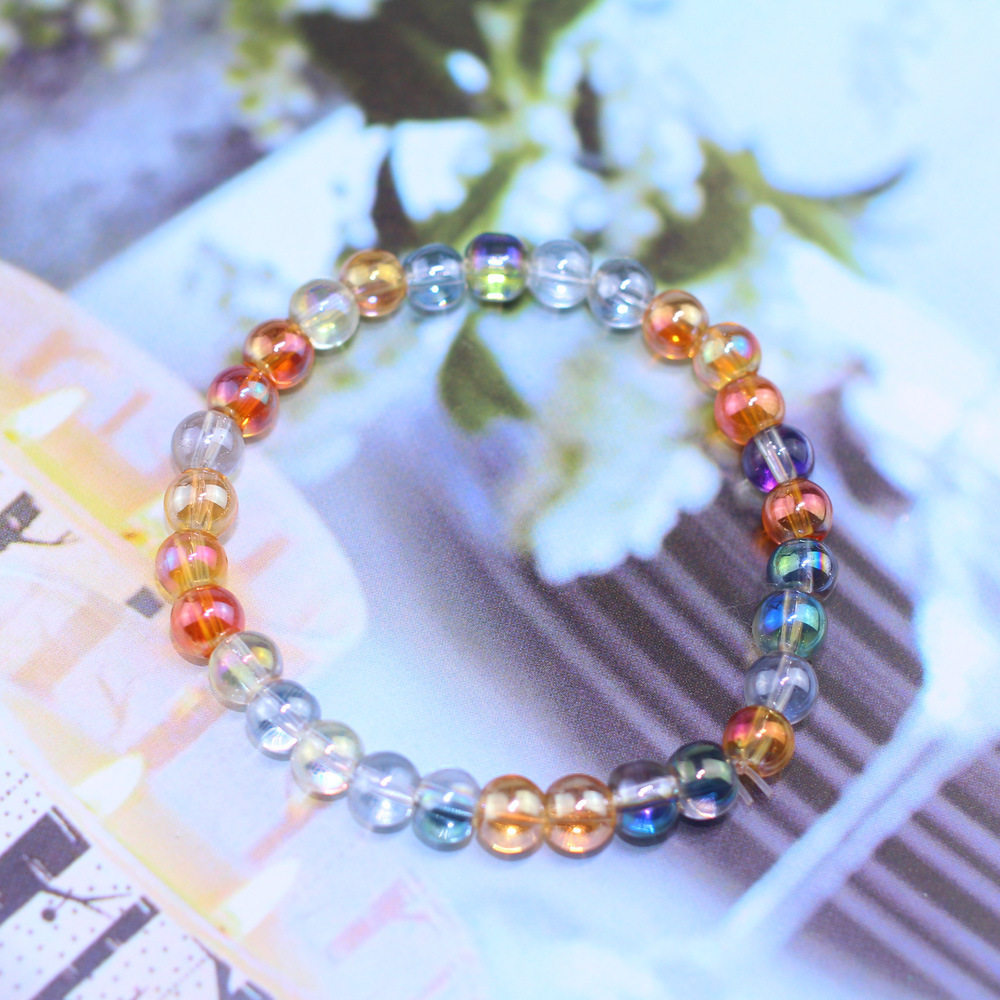 Trendy Natural Stone Love Transparent Flash 10mm Bead Bracelet Vintage Charm Round Chain Beads Bracelets Jewelry For Women Gift in Strand Bracelets from Jewelry Accessories