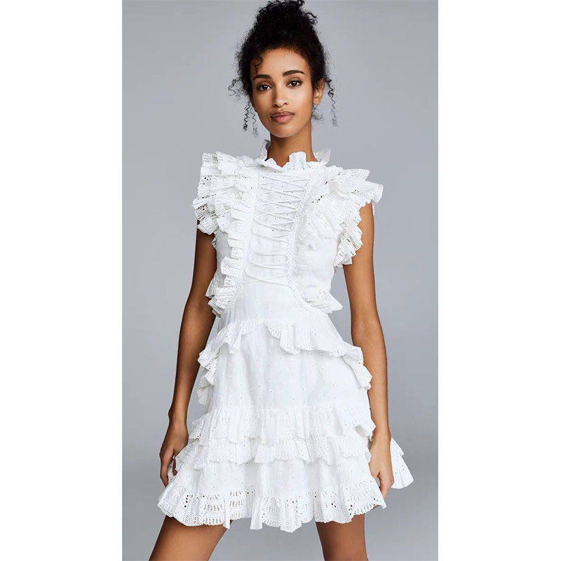 High Qaulity Women White Mini Dress 2019 Summer New Runway Designer Ruffles Sexy Hollow Out Lady Party Holiday Dresses Clothes