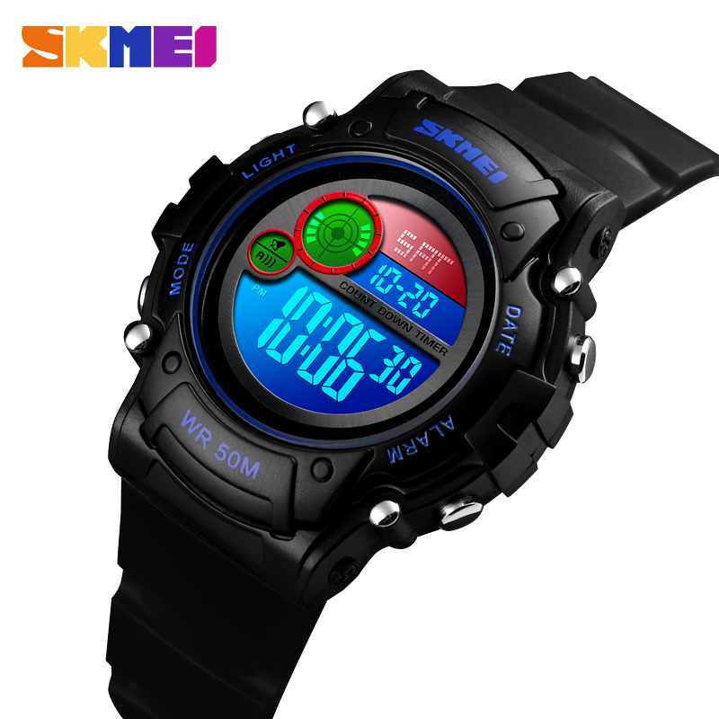 SKMEI NEW Kids Watch Fashion Waterproof Plastic Case Alarm Wristwatch Boys Girls Digital Children Watches 1477 Reloj