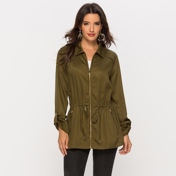 ESCALIER Anorak Jacket for Women Lapel Waist Drawstring Army Green Silk Loose Military Parka Coat