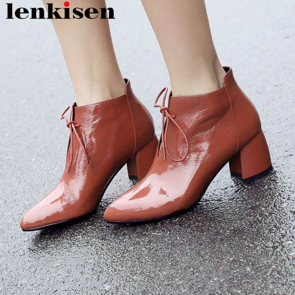Lenkisen 2019 british style cow leather thick med heels lace up elegant lady oxford pointed toe