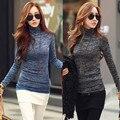 Zanzea mulheres outono inverno blusas de malha jumper top moda feminina casual de alta long neck sleeve slim fit pullovers plus size