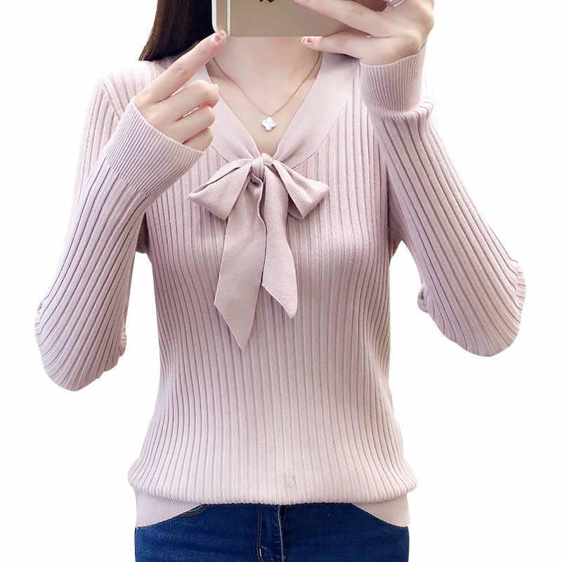 Lcybhe 2019-однотонное фото новый лук с v-образной горловиной тонкий корпус свитер 29-7912