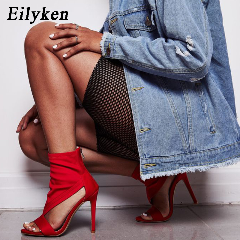 Eilyken 2019 Women Sandals Open Toe Mid Calf Sock Ankle Boots Stretch Fabric High Heel Summer Gladiator Sandals Boots Red/BlackEilyken 2019 Women Sandals Open Toe Mid Calf Sock Ankle Boots Stretch Fabric High Heel Summer Gladiator Sandals Boots Red/Black