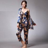 2019 New Autumn Spring Three piece suit V Neck Silk Pajamas for Woman Sexy women's Pajamas set Nightwear Pyjama Femmle sleepwear