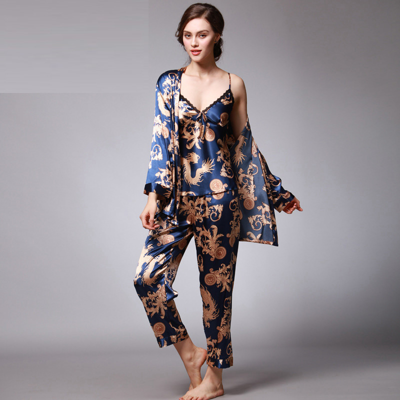 2019 New Autumn Spring Three-piece suit V Neck Silk   Pajamas   for Woman Sexy women's   Pajamas     set   Nightwear Pyjama Femmle sleepwear
