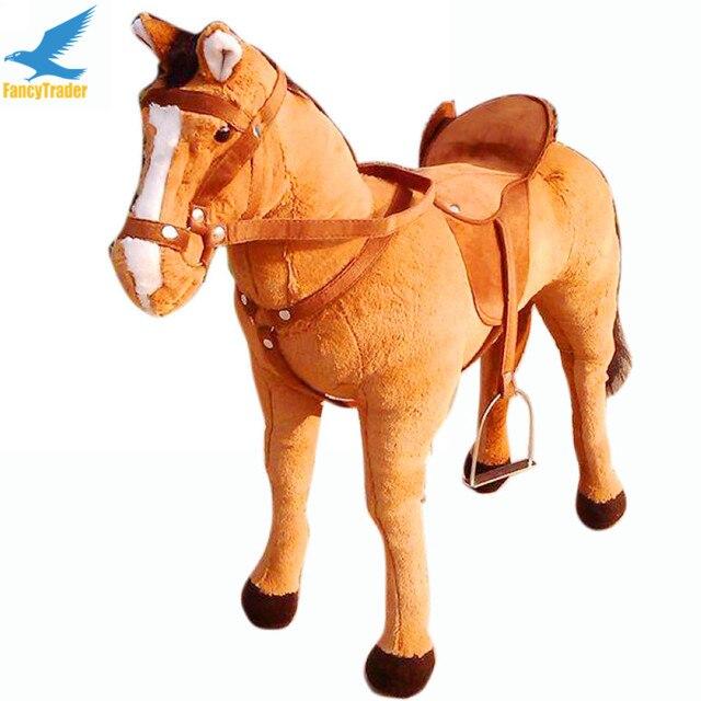 Fancytrader 32 ''/82 см Большие Мягкие Чучела Плюшевые Имитация Животных Боевой Конь Игрушка, 3 Имеющихся Цветов, бесплатная Доставка FT50609