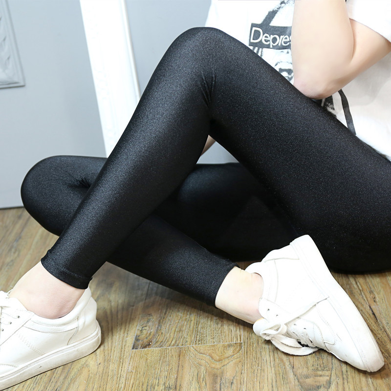 2019 New Women Plus Size   Leggings   fashion solid slim pants black shiny skinny trousers Glossy Pants 5XL 4XL 3XL large size
