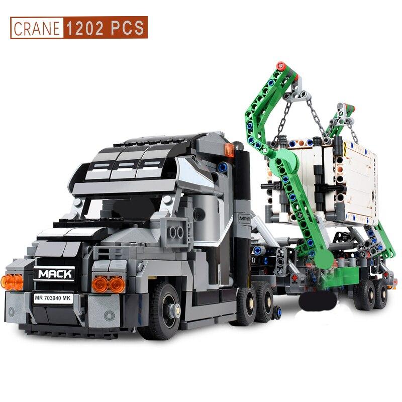 1202 + piezas contenedor camión modelo bloques vehículos coches bloques de construcción coche técnico DIY ladrillos juguetes educativos para niños regalo-in Bloques from Juguetes y pasatiempos    1