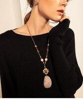 טיול מבריק קריסטל שרשרת תליון לנשים דקור ארוך שרשרת תכשיטים סיטונאי שרשרת שרשרת חרוזים אלגנטית בסגנון אירופה