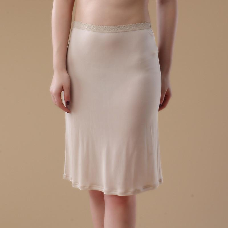 100% Pure Silk Womens Half Slips Sexy Slim Fit Female Silk Underskirts Solid Soft Petticoat Slip for Woman WS126(China)