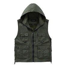 Versatile Photographer Men Hooded Vest Waterproof Mesh Vest Men Gilet Sleeveless Jackets with Big Pocket Spring Summer Clothes