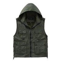 Versatile Photographer Men Hooded Vest Waterproof Quick Dry Mesh Vest Men Gilet Sleeveless Jackets with Big Pocket Spring Summer