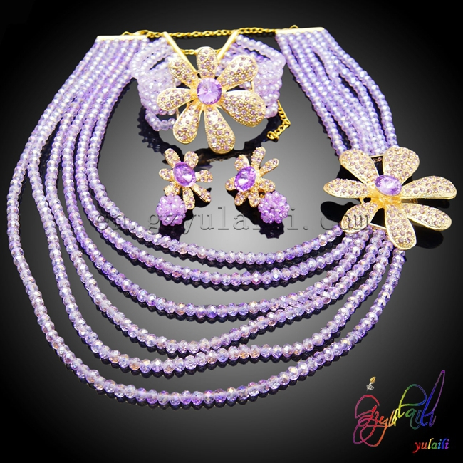 Newest fashionable crystal beads jewelry set gold color jewellery sets for women pasther 0005