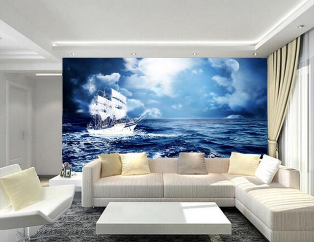 aliexpress : anpassen luxus tapete meerblick 3d wandbilder, Wohnzimmer