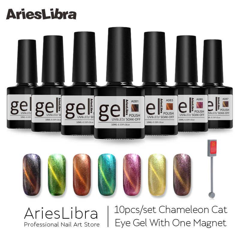 Arieslibra 11 Pcs Chameleon Cat Eye Gel Set Nail UV GEL 10 Ml Nail Polish Rendam Off Pernis Atas base Coat untuk Nail Art Magnet