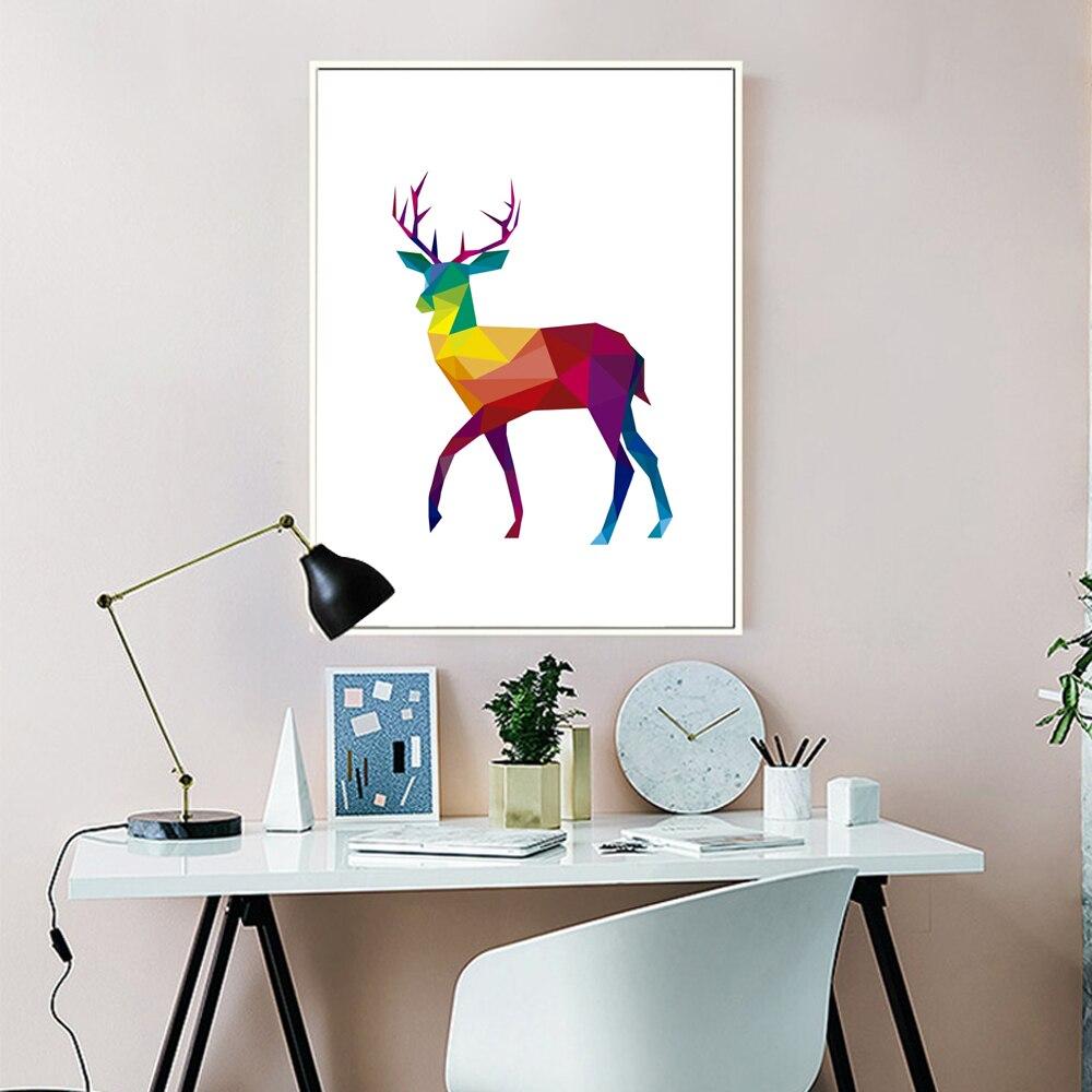 Geometric Purple Deer Wall Art Print Modern Poster Buck: Unframed Geometric Deer Canvas Print Painting Poster