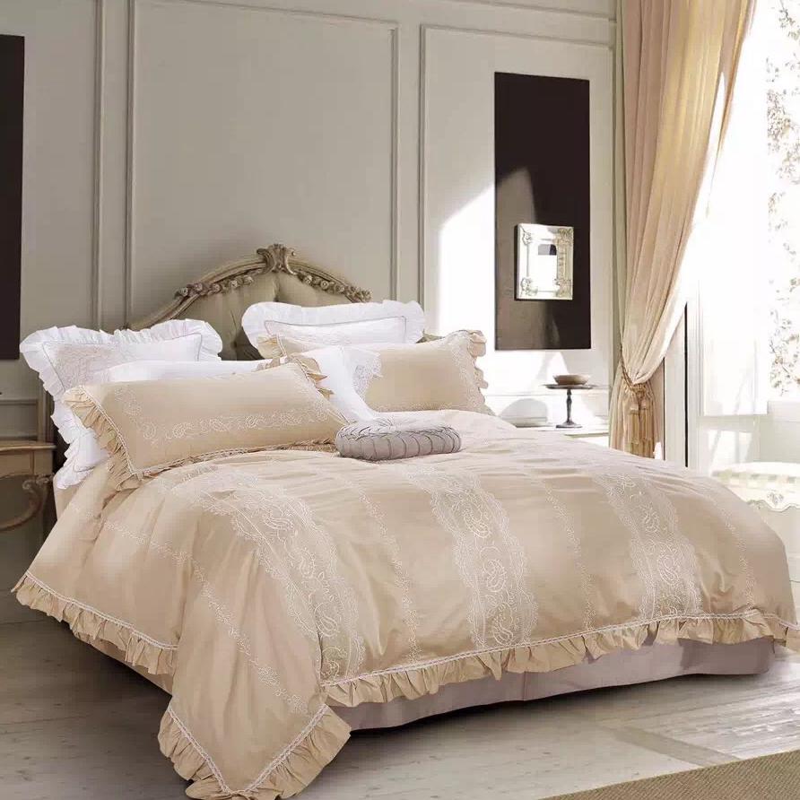 de lujo bordado del lechoropa de cama de algodn egipcio establece ruffle colcha almohada