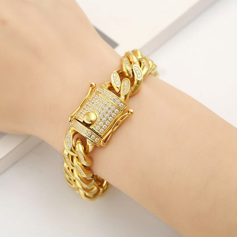 Bracelet à chaîne cubaine en acier inoxydable pour hommes et femmes, plein CZ Hip Hop glacé bijoux Bling Double fermoirs de sécurité 10mm-18mm