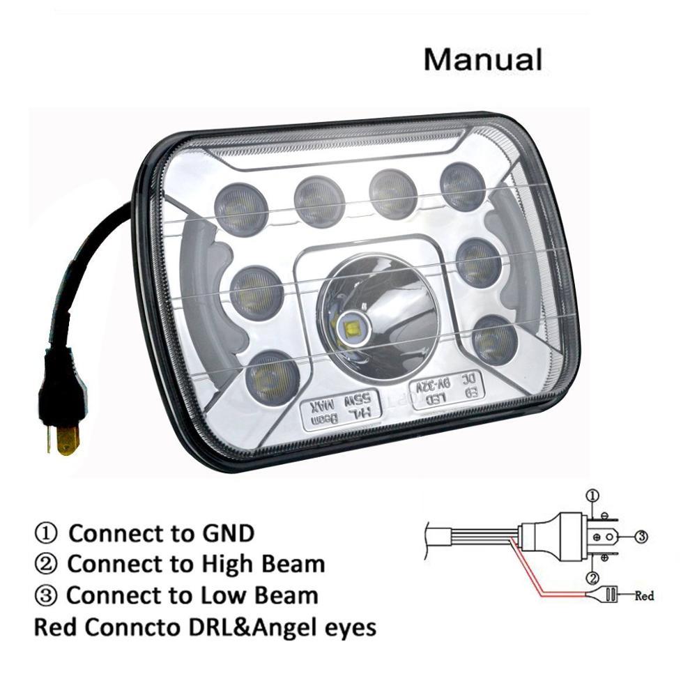 2 stücke 7X6 5X7 55W LED Scheinwerfer Hohe Abblendlicht DRL für Ford E 150 E 250 e 350 Econoline Club Wagon - 2