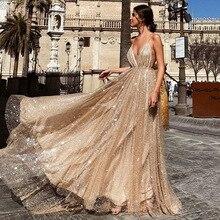 Ruoru glitter v neck dress summer long maxi dress vestidos silver color robe femme sexy party club dresses vestidos de fiesta цена