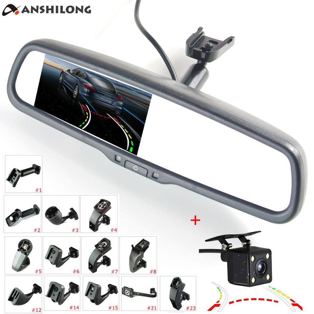 ANSHILONG Car Rear View Interior Mirror Buitl in 4 3 quot LCD Monitor Dynamic Trajectory Camera System Kit OEM Bracket in Car Monitors from Automobiles amp Motorcycles
