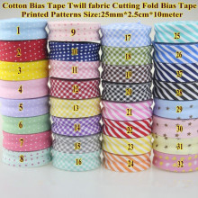 100% Cotton Bias Binding Tape Grid Stripe Dot Heart Trim Ribbon  25mm,20mm 10meter  Fold Bias Binding Tape Sewing Accessories