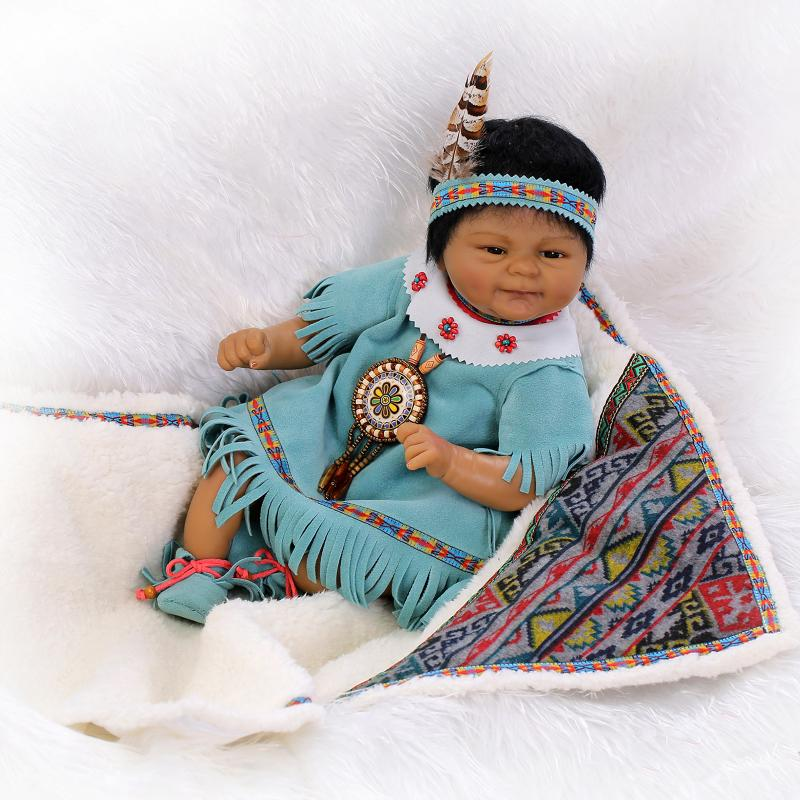 New Arrival Indians Black Silicone Reborn Baby Doll Toys Newbabies Reborn Doll High-end Child Christmas Brithday New Year Gifts muñeco buffon