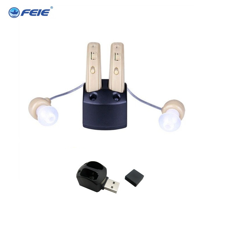 Guangzhou feie deaf rechargeable hearing aids mini behind the ear hearing aid s-109s free shipping feie mini rechargeable hearing aid usb charger computer ajustable tone ear listen device s 109s drop shipping